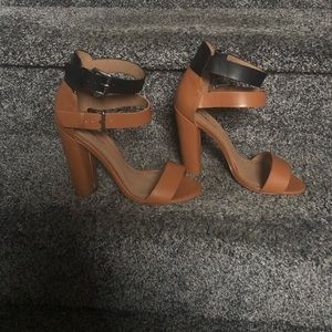 Adorable Black and Tan Ankle Strap Sandals